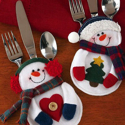 4/10pcs Snowman Wedding Merry Christmas Cutlery Holder Pouch Table Decoration