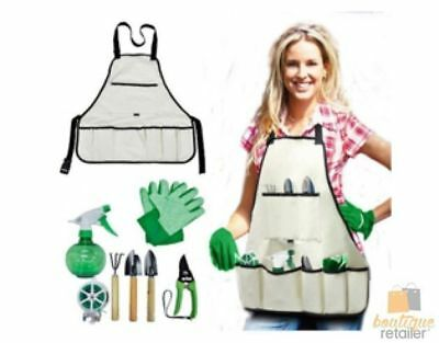 8pcs All In One GARDEN TOOLS APRON Kit Set Tools Gloves Protect Pocket Guard BBQ