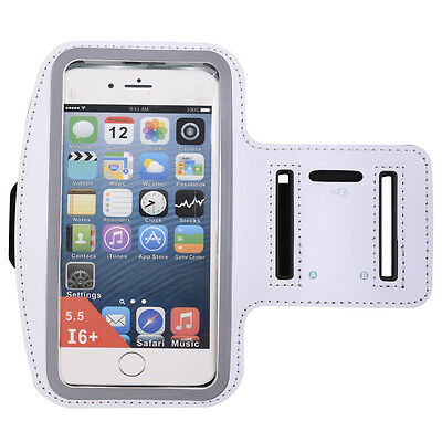 White Sports Running Jogging Gym Armband Case Cover Holder for iPhone 6 Plus