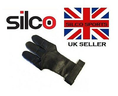 Archers Leather Shooting 3 Fingers Glove Black - Large