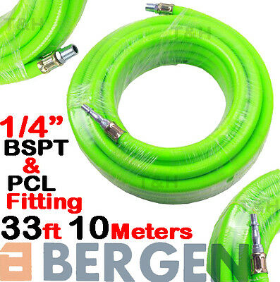 "BERGEN HEAVY DUTY Air Line Hose Compressor Air Hose Line 10m 33ft 1/4"" BSP HiVis"