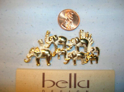 Bella Gold and White Elephants Pin