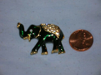 Dark Green Enamel Elephant Pin with a Jeweled Blanket