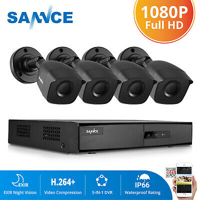 SANNCE 5in1 4CH 1080P HDMI DVR HD 1500TVL Security Camera System IR Night Vision