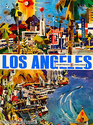 Los Angeles California Air Vintage United States Travel Advertisement Poster