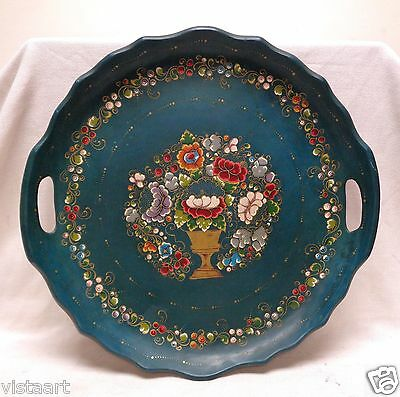Large Vintage Italian? Wooden Tray w Hand Painted Floral & Swirling Leaf Designs