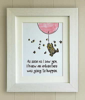 Winnie the Pooh FRAMED QUOTE PRINT, New Baby/Birth, Nursery Picture Gift, Bear