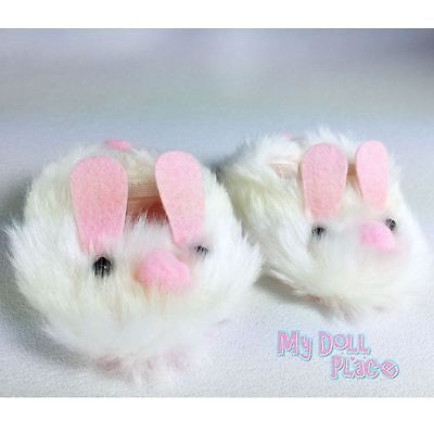 """Bunny Slippers White Pink Shoes fit 18"""" American Girl Doll Clothes Accessories"""