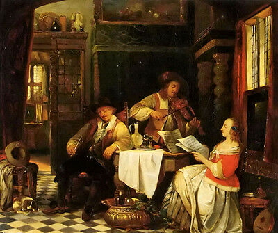 Oil painting Baron Jan August Hendrik Leys - the musician music party on canvas