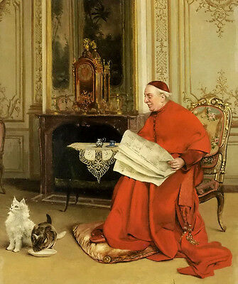 Oil painting georges croegaert - old man reading the news with pets cats canvas