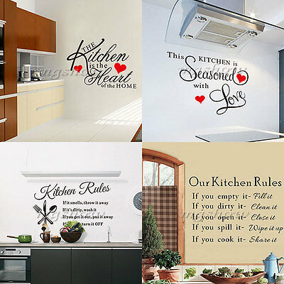 DIY Quote Mural Words Art Rules Vinyl Wall Stickers Home Kitchen Room Love Decor