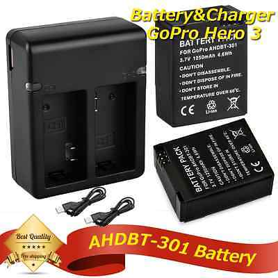 GoPro Dual 2x Battery + USB Charger For Hero3 Hero3+ Go Pro AHBBP-301/201 New