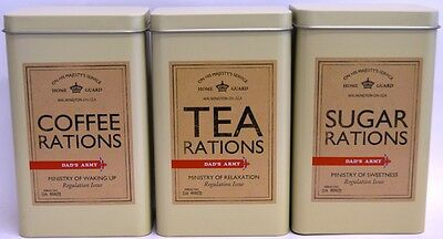 Dad's Army Tins - Set of Three Tea Coffee and Sugar Caddy Dads Army Rations
