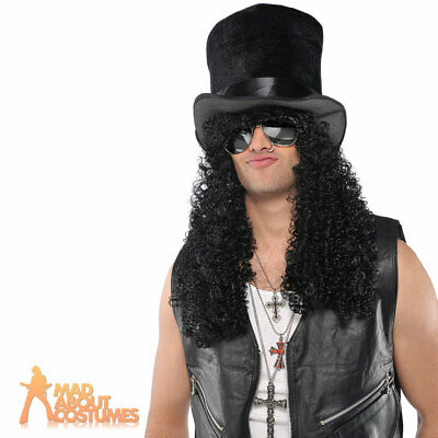 Slash Heavy Metal Rocker Wig + Top Hat Headbanger Curly Fancy Dress Accessory