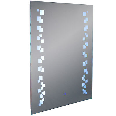 LED Illuminated 80 x 60cm Rectangular Wall Mirror Light Demister Dimmer SP1237