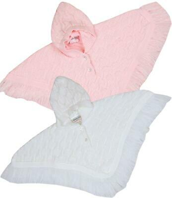 BabyPrem Baby Childrens Clothes Pink White Girls Knitted Poncho Cardigan Cardi