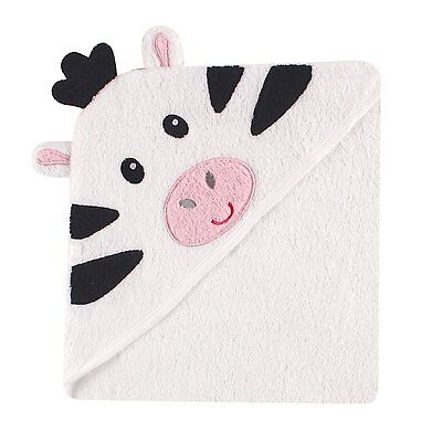 Luvable Friends Animal Face Hooded Towel, Black & White Zebra 100% Cotton Terry