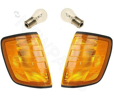 For Mercedes W124 Pair Set of Left and Right Front Turn Signal Lens Bulbs