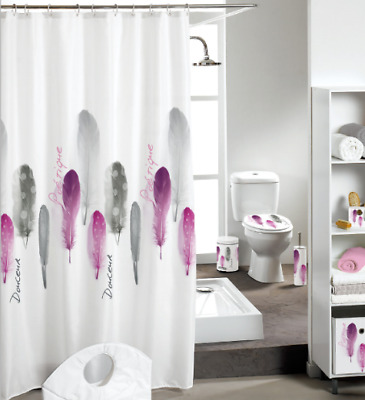 Creative Feather Pattern Shower Curtain Bathroom Waterproof Fabric 72 Inch