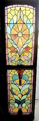 ~ Antique American Stained Glass Window Double Hung Top & Bottom ~ Salvage ~