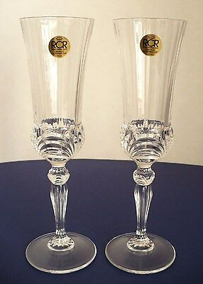 "Lot of 2 Crystal Royal Crystal Rock RCR Champaign Flute Glass Italy 8.5"" T"