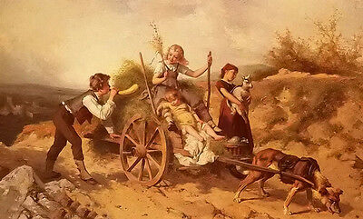 Oil theodore gerard - the country children on the dog cart in landscape canvas