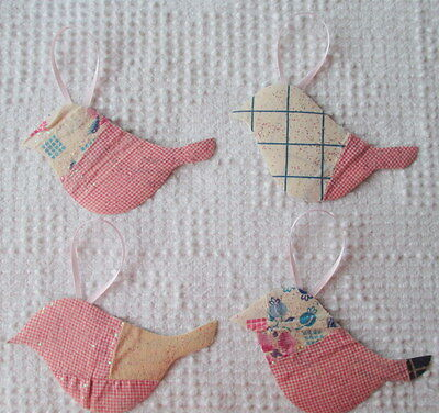 AA89 Prim Ornaments Upcycled from Vintage 1920s/30s Cutter Quilt Remnant Birds