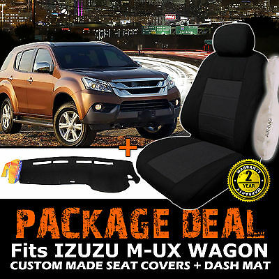 ISUZU MU-X BLACK Seat Covers + DASH MAT BUNDLE 09/2013-2017 LS-U LS-T LS-M MUX