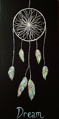 Abstract Canvas Painting Original Artwork Feathers Dream Catcher Dee's Funky Art