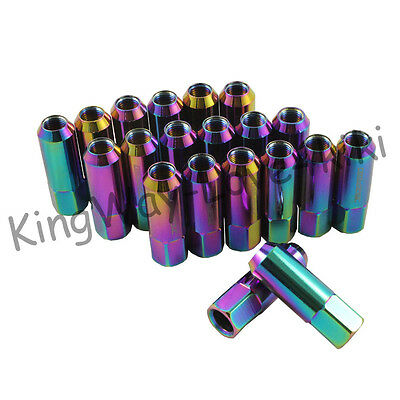 New Neo Chrome 20Pcs 60Mm Extended Tuner Lug Nuts For Ford Mustang 1/2-20 L22