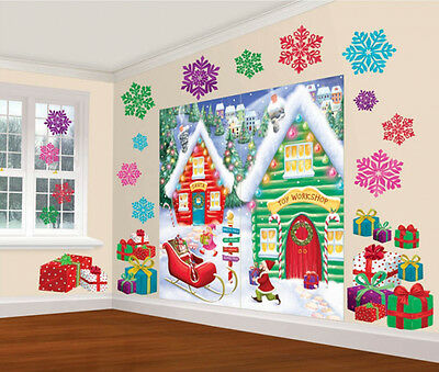 Christmas North Pole Santas Workshop Scene Party Wall decoration backdrop