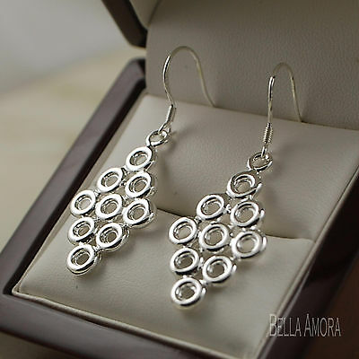 Gorgeous 925 Stamped Sterling Silver Round Circle Dangle Drop Earrings NEW 161