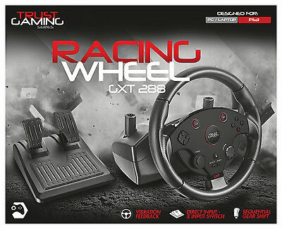 Trust Gxt-288 Vibration Feedback Wheel & Pedals For Sony Playstation 3 Ps3 & Pc