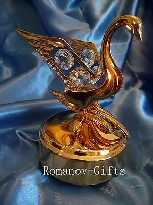 """Gold Wizard of Oz Music Box SWAN """"Over the Rainbow"""" with FABERGE Egg Necklace"""