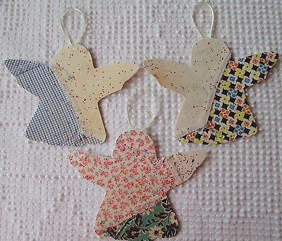 AA95 Prim Ornaments Upcycled from Vintage 1920s/30s Cutter Quilt Remnant Angels