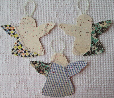 AA97 Prim Ornaments Upcycled from Vintage 1920s/30s Cutter Quilt Remnant Angels
