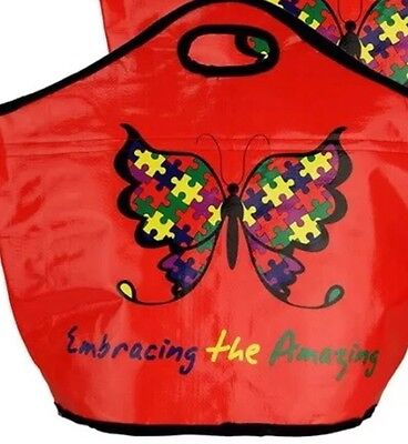 AUTISM AWARENESS PUZZLE PIECE Large Insulated Red TOTE SHOPPER Diaper Bag new