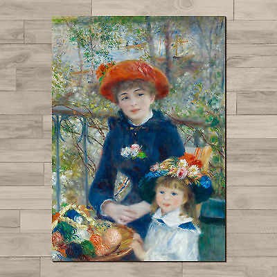 Renoir: Two Sisters (On the Terrace): A4 Canvas paper poster print.