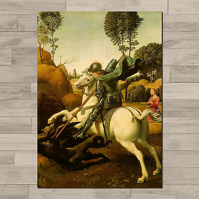 Raphael: St George and the Dragon: A4 Canvas paper poster print.