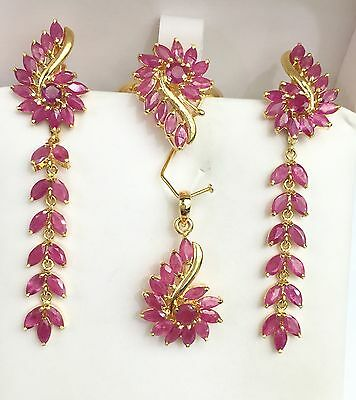 14k Solid Gold Cluster Dangle Set Earrings Ring Pendant, Natural Ruby 9TCW