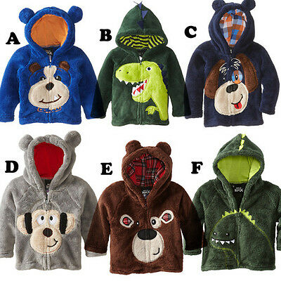 Baby Boy Soft Fleece Hoodie Zip Up Hooded Jumper Top Dragon Dinosaur Bear Monkey