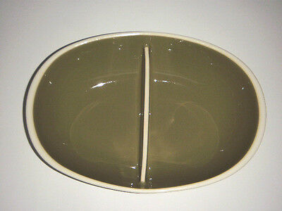 """Harkerware Green & White Divided Dish Vintage Sage 10.25"""" X 7.25"""" Absolute Mint"""