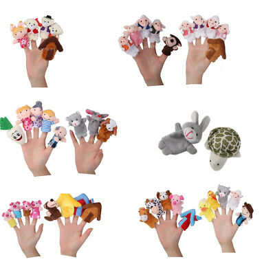 Set Zoo Farm Animals Plush Hand Puppets Finger Soft Toys Kids Party Favor Gifts