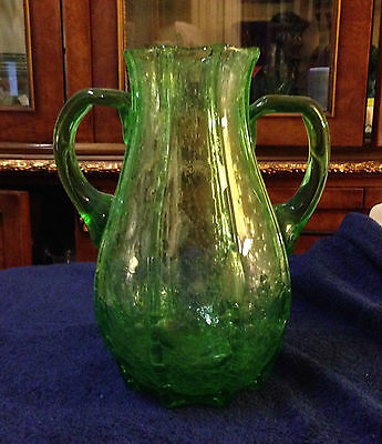 McKee Glass Vulcan Pattern MEXICAN BUBBLE Uranium Green Handled Vase