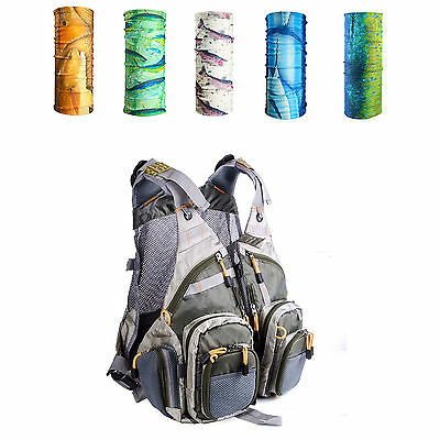 Multi-pocket Fly Fishing Mesh Vest Backpack With Multicolor Headwear Scarf