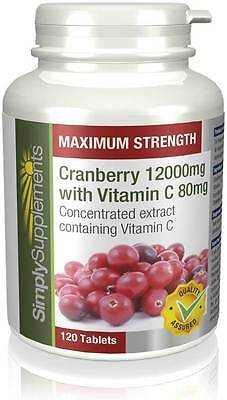 Simply Supplements Cranberry 12000mg + Vitamin C 80mg 120 Tablets (E463)