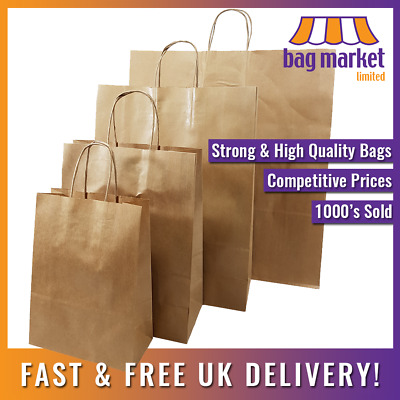Strong Brown Kraft Twisted Handle Paper Carrier Bags | Ribbed/Gift/Fashion/Party