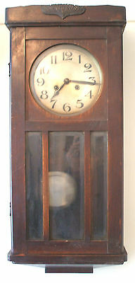 "JUF German Glazed Oak Case Striking Wall Clock GWO 30""H 13""W 6""D"