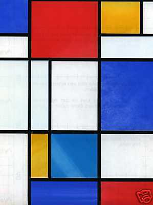Self Adhesive Window Covering Mondrain Red Blue Stained Glass Effect Vinyl Film