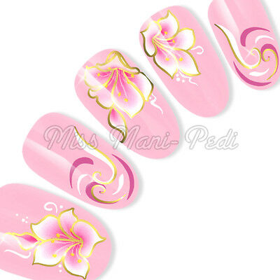 Silver or Gold Nail Art Water Decals Transfers Stickers Pink Flowers & Swirls